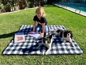 Scarlett and the puppies